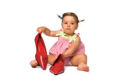 Baby Girl with Red Pumps Stock Photography