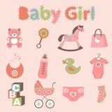Baby girl related elements collection Stock Images
