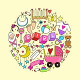 Baby girl related sticker icons collection isolated in circle shape. Cute symbols design. Child drawn illustration. Baby Stock Image