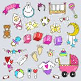 Baby girl related sticker icons collection isolated. Cute symbols design. Child drawn illustration. Baby shower Royalty Free Stock Image