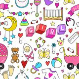 Baby girl related sticker icons collection seamless pattern. Cute symbols design. Child drawn illustration. Baby shower Stock Photography
