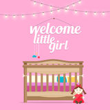 Baby girl room with bed and words. Stock Images
