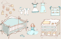 Baby girl room 1 color. A set of furniture and toys for the room newborn girl, doll and dress Stock Photo