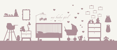 Baby girl room interior pink silhouette. Pink silhouette of an interior of a baby girl's room with some furniture, toys, clothes, decoration and other childcare Vector Illustration