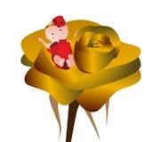 Baby girl in rose. Illustration of happy baby inside big rose vector illustration