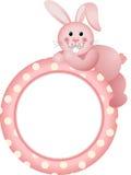 Baby girl round frame bunny. Scalable vectorial image representing a baby girl round frame bunny,  on white Stock Photos