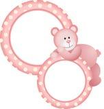 Baby girl round frame teddy bear Stock Images