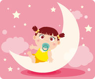 Baby girl's dream. Illustration of Baby girl's dream Royalty Free Stock Image