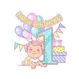 Baby girl`s first birthday. Festive decoration. One year girl near large number 1. First year celebration. Little boy`s birthday party. Happy boy wearing bow Stock Image