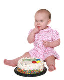 Baby girl's first birthday isolated on white Stock Photos