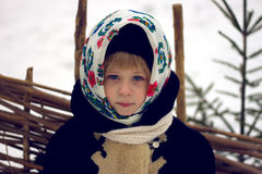 Baby girl's in old russian style Stock Photography