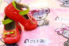 Baby Girl`s Shoes. expectancy of a child Royalty Free Stock Photo
