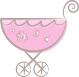 A baby (girl's) stroller (II). Pastel-colored (pink) stroller for baby girls decorated with flowers Stock Photography