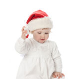 The baby girl in santa's hat Royalty Free Stock Image