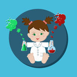 Baby girl scientist royalty free illustration