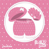Baby girl scrapbook arrival card. Vector illustration royalty free illustration