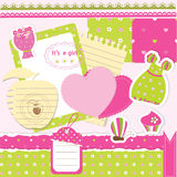 Baby girl scrapbook set Royalty Free Stock Images