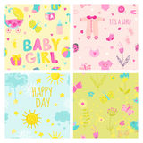 Baby Girl Seamless Background Set Stock Images