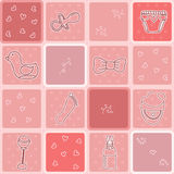 Baby girl seamless pattern with cute newborn elements Stock Images