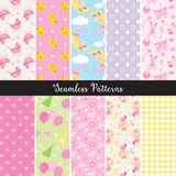 Baby Girl Seamless Pattern. Vector illustration of seamless baby girl pattern set Stock Photography