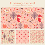 Baby girl seamless patterns. Vector collection. Baby girl seamless patterns with hand drawn forest animals, flowers and plants. Set of cute children's textiles Stock Image