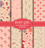Baby girl seamless patterns. Vector collection. Royalty Free Stock Images