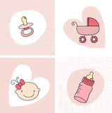 Baby Girl Set. Baby girl Elements set illustration Stock Illustration