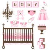 Baby girl set vector illustration