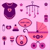 Baby girl set. Baby girl elements for scrapbooking Stock Photography