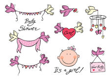 Baby girl set of vector elements Stock Photography