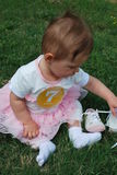Baby girl. Seven-month baby girl sitting on a green grass royalty free stock photos