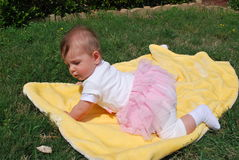 Baby girl. Seven-month baby girl sitting on a yellow blanket among green grass royalty free stock photography