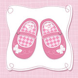 Baby girl shoes arrival card Royalty Free Stock Images