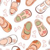Baby girl shoes pattern Royalty Free Stock Images