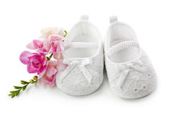 Baby girl shoes with pink flowers Royalty Free Stock Photo