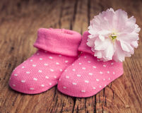 Baby girl shoes with polka dots and pink flower Royalty Free Stock Photo