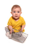 Baby girl with shopping basket. Cutout Royalty Free Stock Images