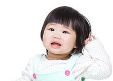 Baby girl shout. Isolate on white Stock Photo