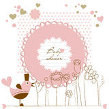 Baby girl shower. Baby girl cute shower, bird and flowers Royalty Free Stock Photography