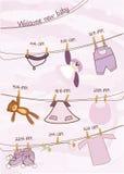 Baby girl shower announcement card vector illustration
