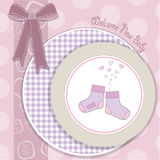 Baby girl shower announcement card Royalty Free Stock Image