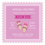Baby Girl Shower or Arrival Card Royalty Free Stock Image