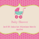 Baby Girl Shower and Arrival Card. With place for your text in vector illustration