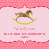 Baby Girl Shower and Arrival Card. With place for your text in stock illustration