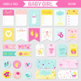 Baby Girl Shower or Arrival Set. Tags, Banners, Labels, Cards - in vector Royalty Free Stock Images