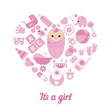 Baby girl shower background Royalty Free Stock Image