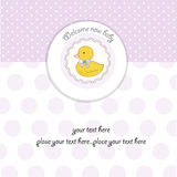 Baby girl shower card. With duck Royalty Free Stock Photo