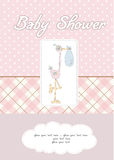 Baby girl shower card. In  format Stock Photos
