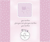 Baby girl shower card. With flowers Stock Photo