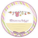 Baby girl shower card Stock Images